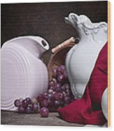 White Ceramic Still Life Wood Print