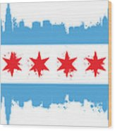 White Chicago Flag Wood Print by Mike Maher