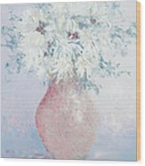White Chrysanthemums Wood Print by Jan Matson
