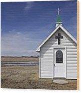 White Church Chapel  On Prairie Wood Print