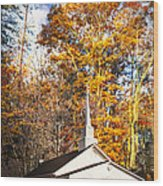 White Church In Autumn Wood Print