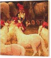 White Circus Ponies Wood Print