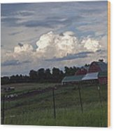 White Clouds Over The Farm Wood Print