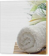 White Cotton Towel Wood Print