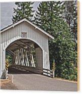 White Covered Bridge Hannah Bridge Art Prints Wood Print