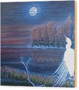 White Crane Dancing In The Light Of The Moon Wood Print