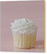 White Cupcake On Pink Wood Print