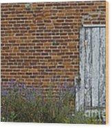 White Door In Brick Building Wood Print