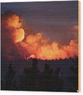 White Draw Fire First Night Wood Print