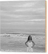 White Dress Wood Print by Thomas Leon