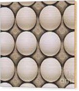 White Eggs In Carton Wood Print