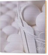 White Eggs In White Basket Wood Print