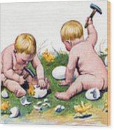 White Eggs Wood Print