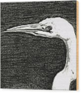 White Egret Art - The Great One - By Sharon Cummings Wood Print