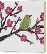 White Eye And Japanese Plum Tree Wood Print