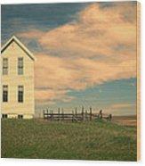 White Farmhouse And Corral Wood Print