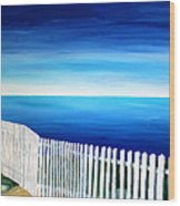 White Fence In Port Reyes National Seashore California Wood Print