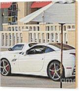White Ferrari At The Store Wood Print