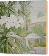 White Flowers Aruba Wood Print