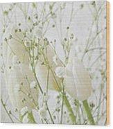 White Flowers Pi Wood Print