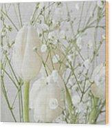White Flowers Pii Wood Print