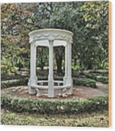 White Gazebo Wood Print