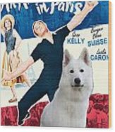 White German Shepherd Art Canvas Print - An American In Paris Movie Poster Wood Print
