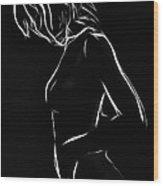 White Girl In Black Night Wood Print