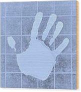 White Hand Cyan Wood Print