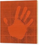 White Hand Orange Wood Print