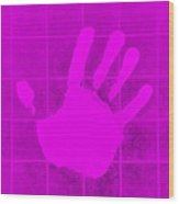 White Hand Purple Wood Print