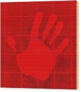 White Hand Red Wood Print