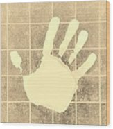 White Hand Sepia Wood Print