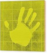 White Hand Yellow Wood Print