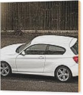 White Hatchback Car Wood Print