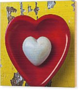 White Heart Red Heart Wood Print