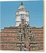 White Hindu Temple In Bhaktapur Durbar Square In Bhaktapur-nepal  Wood Print