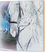White Horse Abstract Wood Print