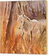 White Horse In The Camargue 01 Wood Print