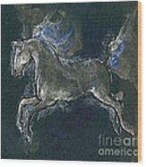 White Horse Minature Painting Wood Print