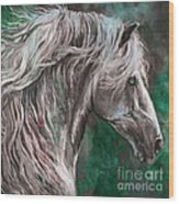 White Horse Painting Wood Print