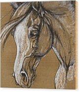 White Horse Soft Pastel Sketch Wood Print