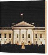 White House At Night Wood Print