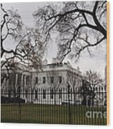 White House On A Cloudy Winter Day Wood Print