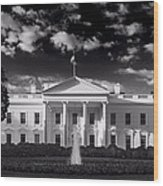 White House Sunrise B W Wood Print