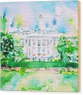 White House - Watercolor Portrait Wood Print