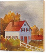 White House With Red Shutters Wood Print
