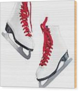 White Ice Skates With Red Laces Wood Print by Oleksiy Maksymenko