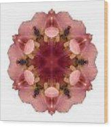 Iris Germanica I Flower Mandala White Wood Print