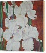 White Irises Wood Print